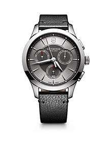 Alliance Chronograph Grey Dial Black Leather Strap