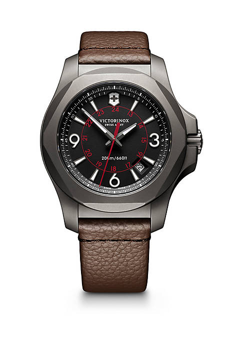 Swiss I.N.O.X. Brown Leather Strap Watch