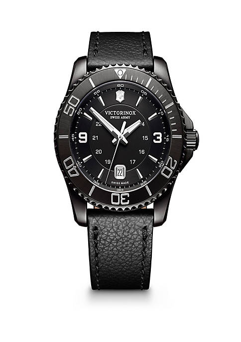 Mens Maverick Black Leather Watch