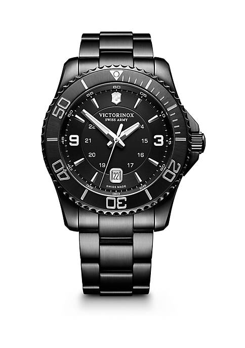 Swiss Army Mens Stainless Steel Maverick Black Edition