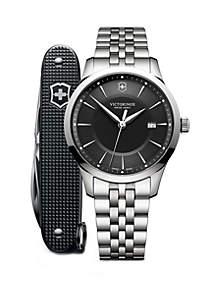 Victorinox Swiss Army, Inc Men's Silver Tone Bracelet Watch and Pen Knife