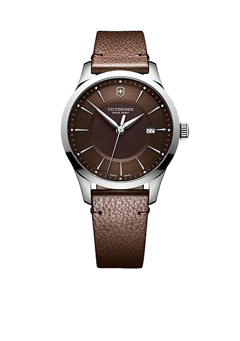 Alliance Stainless Steel and Leather-Strap Watch