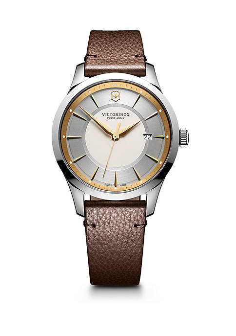 Swiss Army Alliance Stainless Steel and Textured Leather-Strap