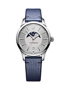Victorinox Swiss Army, Inc Silver Tone Metal Alliance Blue Leather Strap Watch