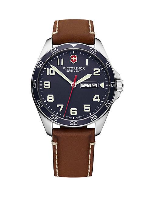 Fieldforce Blue Dial Brown Leather Strap Watch