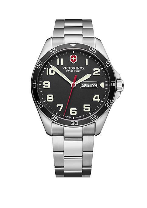 Fieldforce Black Dial Stainless Steel Bracelet Watch