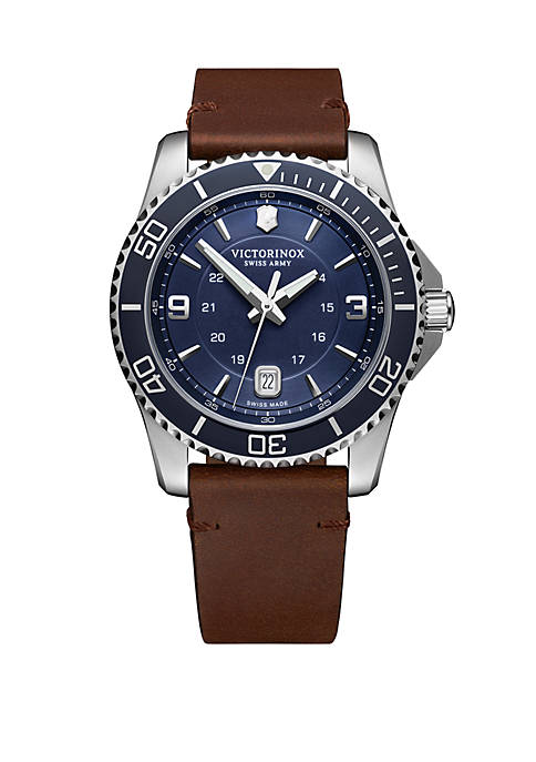Stainless Steel Maverick Blue Dial Brown Leather Strap Watch