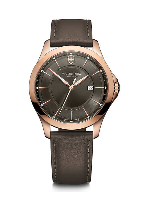 Victorinox Swiss Army, Inc Gray Dial Brown Leather
