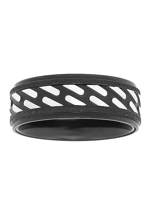 Stainless Steel Ring with Black Ion Plating