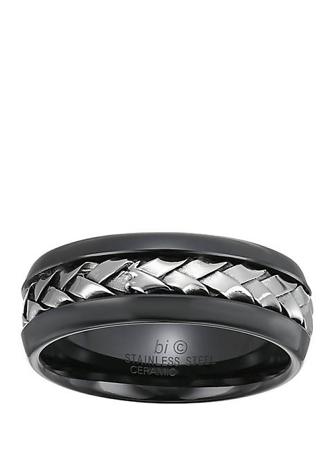 Belk & Co. Mens Stainless Steel and Ceramic