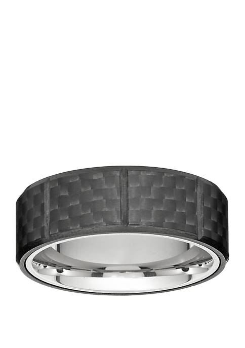 Mens Stainless Steel Ring with Carbon Fiber