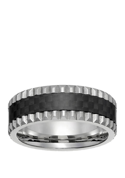Mens Stainless Steel Ring with Forged Carbon Fiber