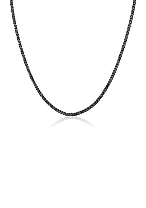 Stainless Steel 2.5 Millimeter Foxtail Chain Necklace with Black Ion Plating, 24 Inch