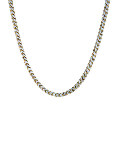 Stainless Steel 5 Millimeter Foxtail Chain Necklace with Two-Tone Gold Tone Ion Plating, 24 Inch