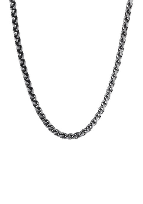 Stainless Steel 8 Millimeter Wheat Chain Necklace with Black Plating Inlay, 24 Inch