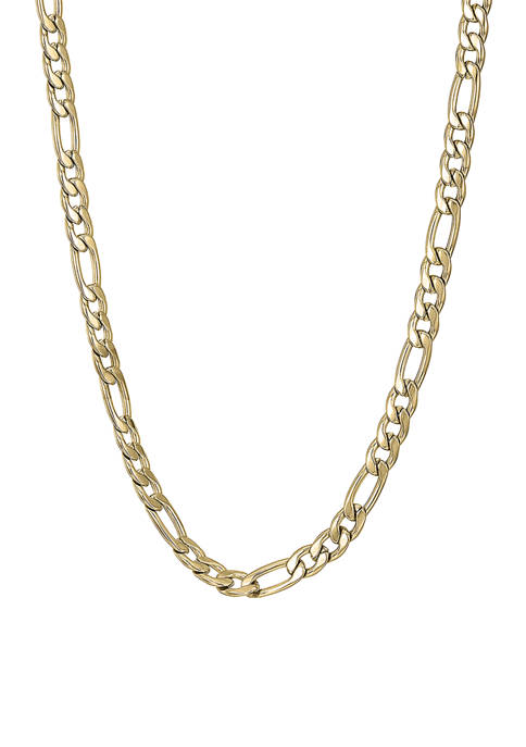 Stainless Steel 4 Millimeter Figaro Chain Necklace with Gold Tone Ion Plating, 24 Inch