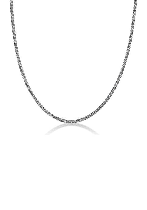 Stainless Steel 4 Millimeter Round Box Chain Necklace, 24 Inch