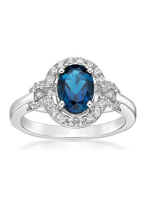 1.63 ct. t.w. London Blue Topaz and 1/2 ct. t.w. White Topaz Ring in Sterling Silver