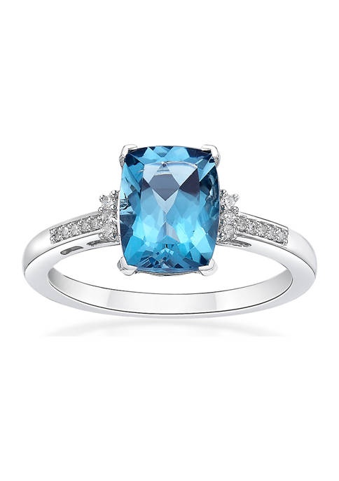 2.5 ct. t.w. London Blue Topaz and 1/10 ct. t.w. Diamond Ring in 10K White Gold