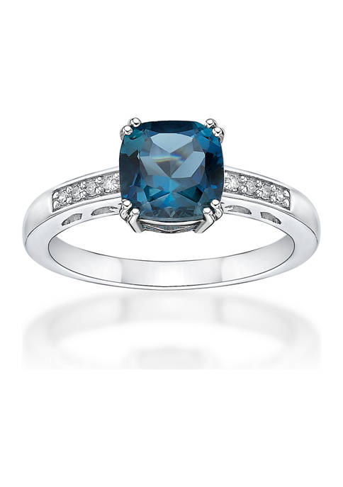 1.75 ct. t.w. London Blue Topaz and 1/10 ct. t.w. Diamond Ring in 10K White Gold