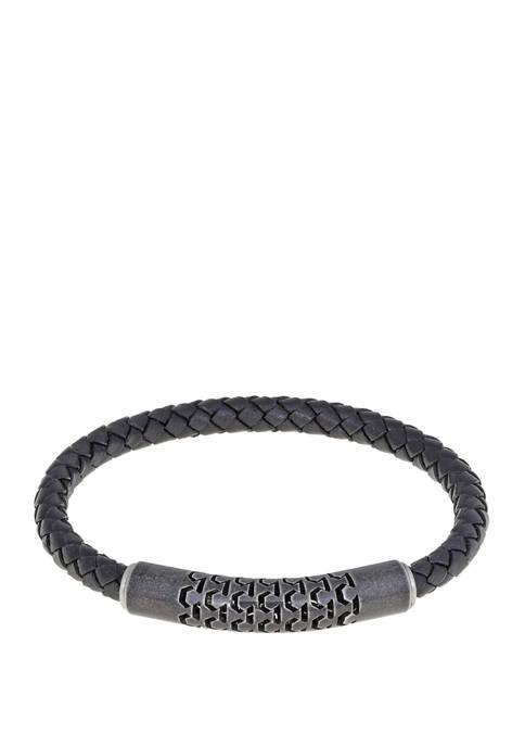 Belk & Co. Braided Black Leather Bracelet wih