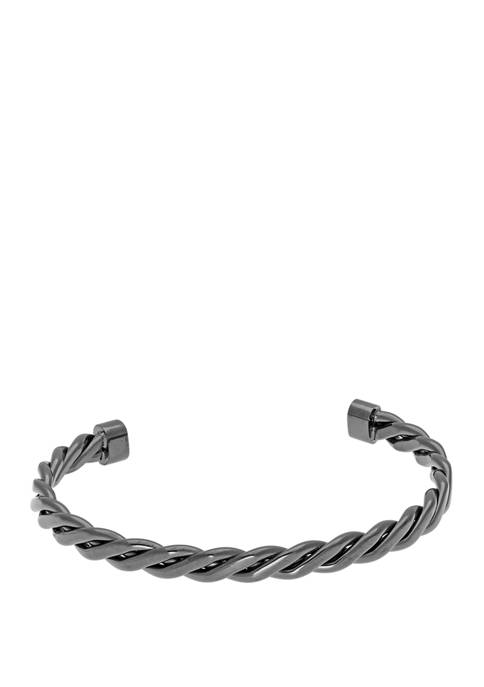Stainless Steel Cuff Bangle with Black Ip