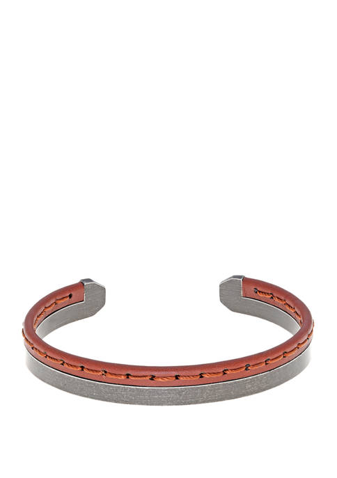 Stainless Brown Stitched Leather Cuff Bangle with Bip