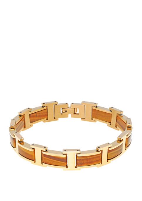 Stainless Steel Bracelet with Tiger Eye & Gip & Lock Extender