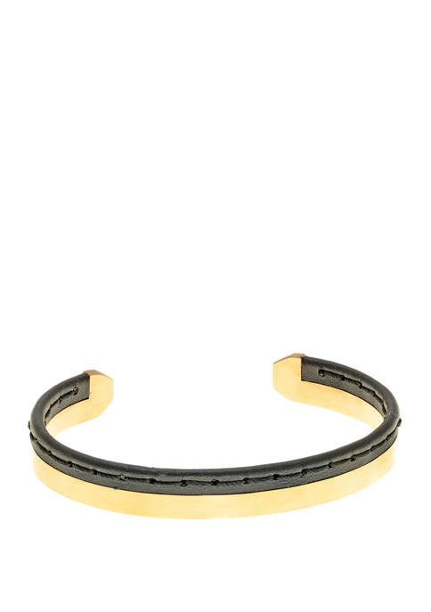 Stainless Stitched Black Leather Cuff Bangle with Gip