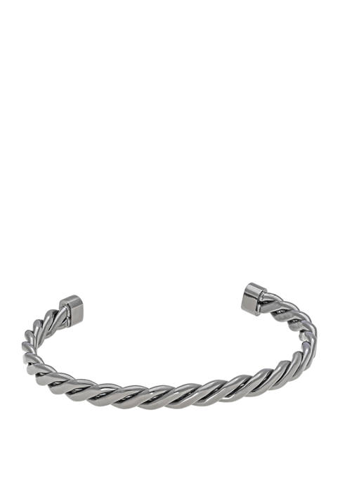 Stainless Steel Cuff Bangle with Gun Metal Gray