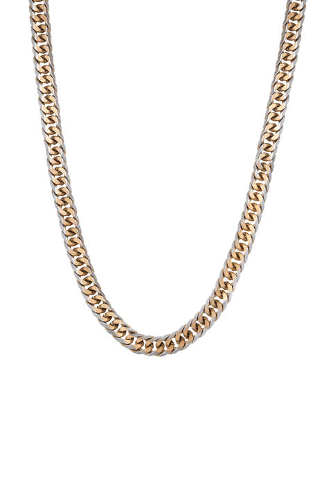 Stainless Steel Gourmeta Chain Necklace with Gold Ion Plating