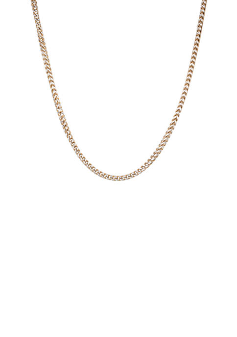 Stainless Steel Square Wheat Necklace with Gold Ion Plating
