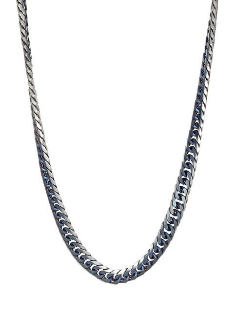 Stainless Steel 2 Tone Necklace with Blue Ion Plating