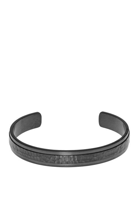 Stainless Steel Hammered Cuff Bangle with Gray