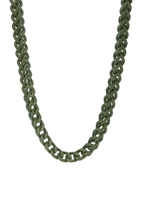Stainless Steel 6 Millimeter Foxtail Chain Necklace with Military Green Ion Plating, 24 Inch