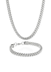 Mens Stainless Steel Necklace and Bracelet Set