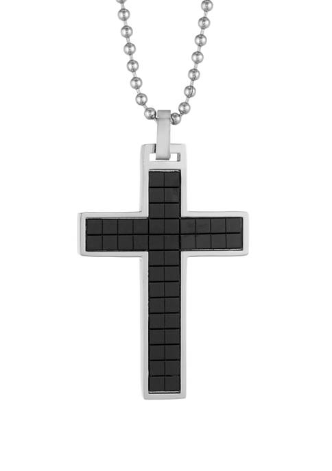 Stainless Steel Cross Pendant with Black Ion Plating