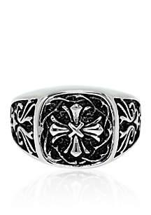 Belk & Co. Men's Stainless Steel Ring Simple Cross