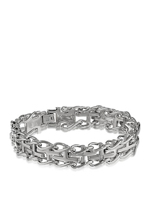 Belk & Co. Mens Diamond Cross Bracelet in