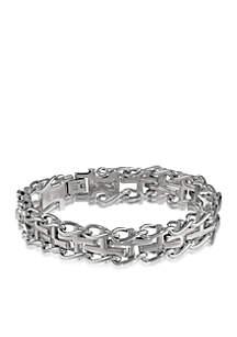 Men's Diamond Cross Bracelet in Stainless Steel