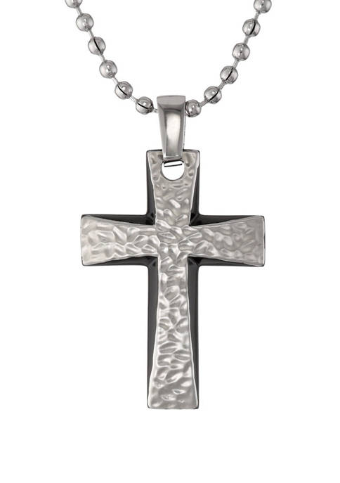 Stainless Steel Cross Pendant with Hammered Texture and Black Ion Plating