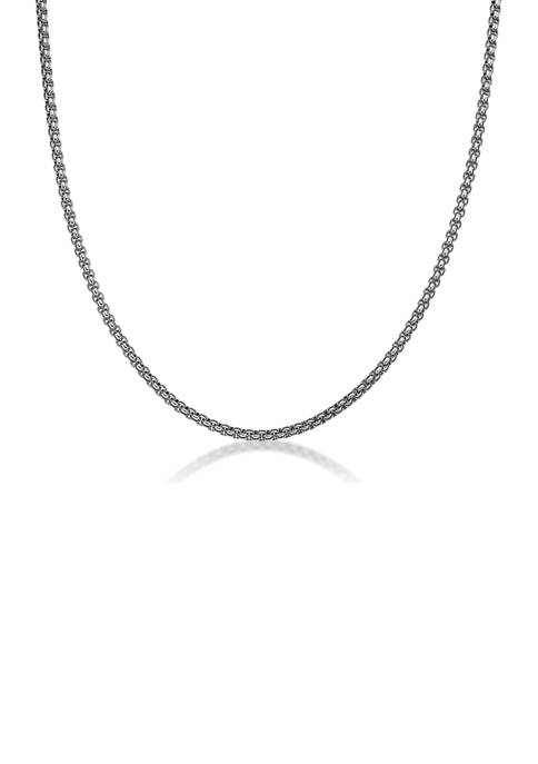 Stainless Steel 3.5 Millimeter Round Box Chain Necklace, 22 Inch