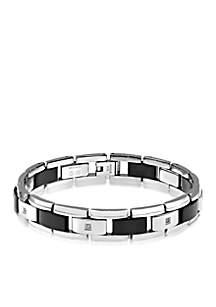 Men's Diamond and Black Ceramic Bracelet in Stainless Steel