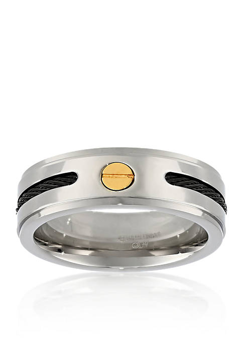 Belk & Co. Mens Stainless Steel Cable Ring