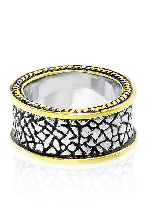 Mens Stainless Steel Gold Plated Highlighted Ring