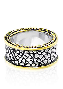 Men's Stainless Steel Gold Plated Highlighted Ring