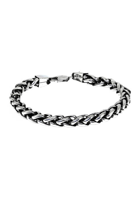 Stainless Steel 8 Millimeter Wheat Chain Bracelet with Black Plating Inlay, 9 Inch