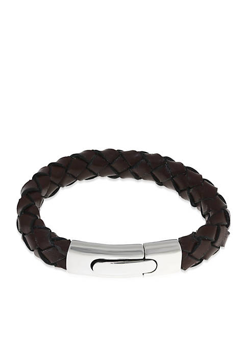 Mens Stainless Steel and Brown Leather Bracelet