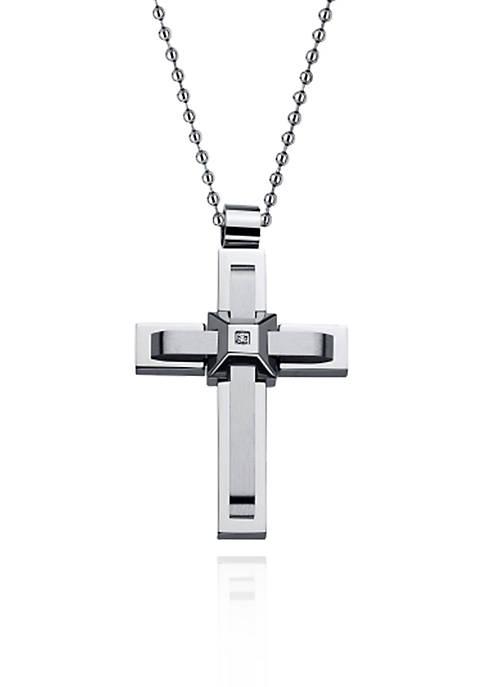 Mens Stainless Steel Cubic Zirconia Cross Pendant