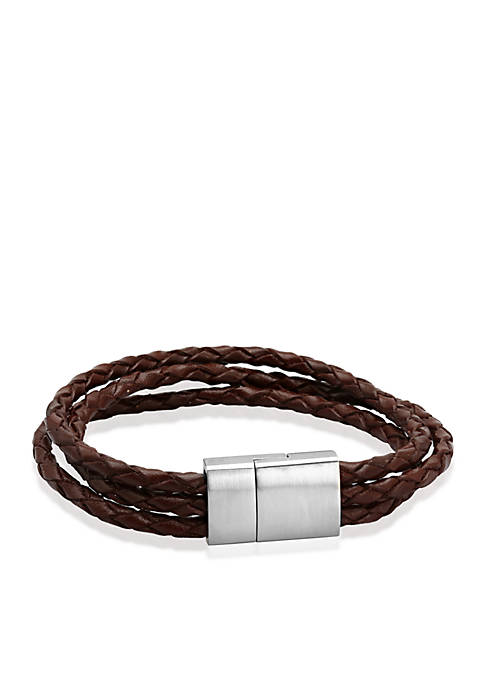 Belk & Co. Mens Braided Leather Bracelet